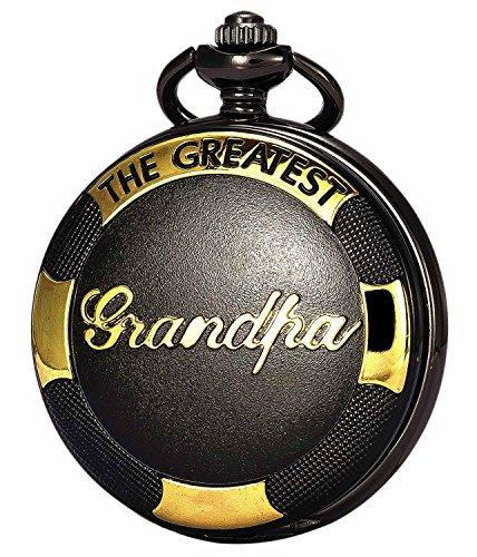 Retro Black Golden Grandpa Pendant Quartz Pocket Watch + Chain