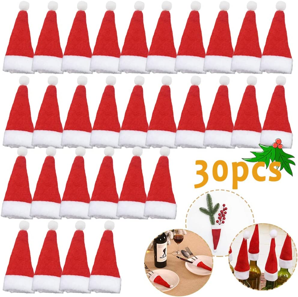 30PCS Mini Santa Hat,Small Christmas Hats,Santa Hats for Silverware Holders,Wine Bottles,Home Decor,Candy