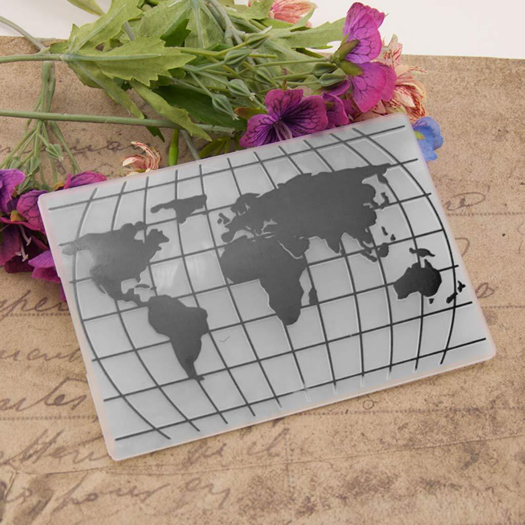 plantilla para /álbum de recortes Huwaioury decoraci/ón de mapamundi tarjetas /álbum de fotos Carpeta para repujado