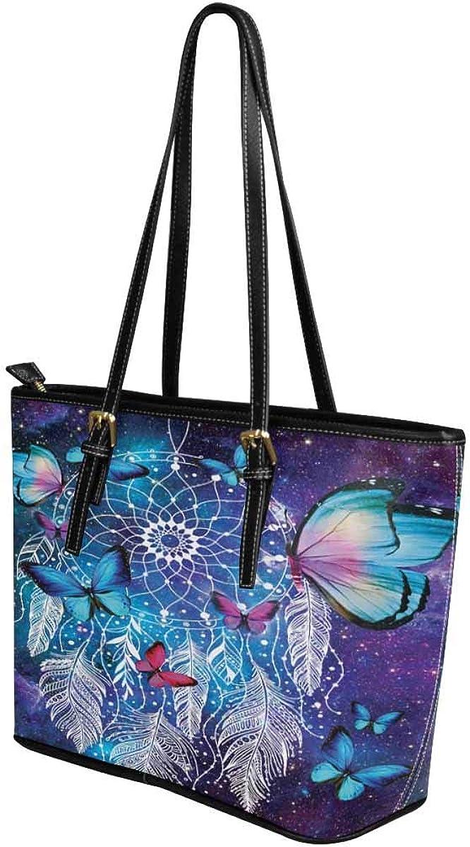 InterestPrint Top Handle Satchel HandBags Shoulder Bags Tote Bags Purse Dreamcatcher Pink Blue Butterfly