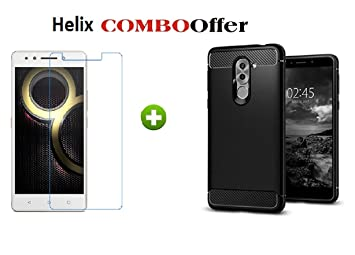 Helix Combo Offer for Lenovo K8 Plus (1 Silicon Back Cover+ 1 Tempered  Glass for Lenovo K8 Plus)