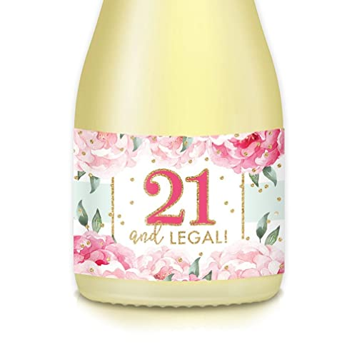 Womans 21st Birthday Party Ideas Decorations 20 Count Mini Champagne Wine Bottle Labels Shes 21 And LEGAL Daughter Sister Girlfriend BFF Girl Is