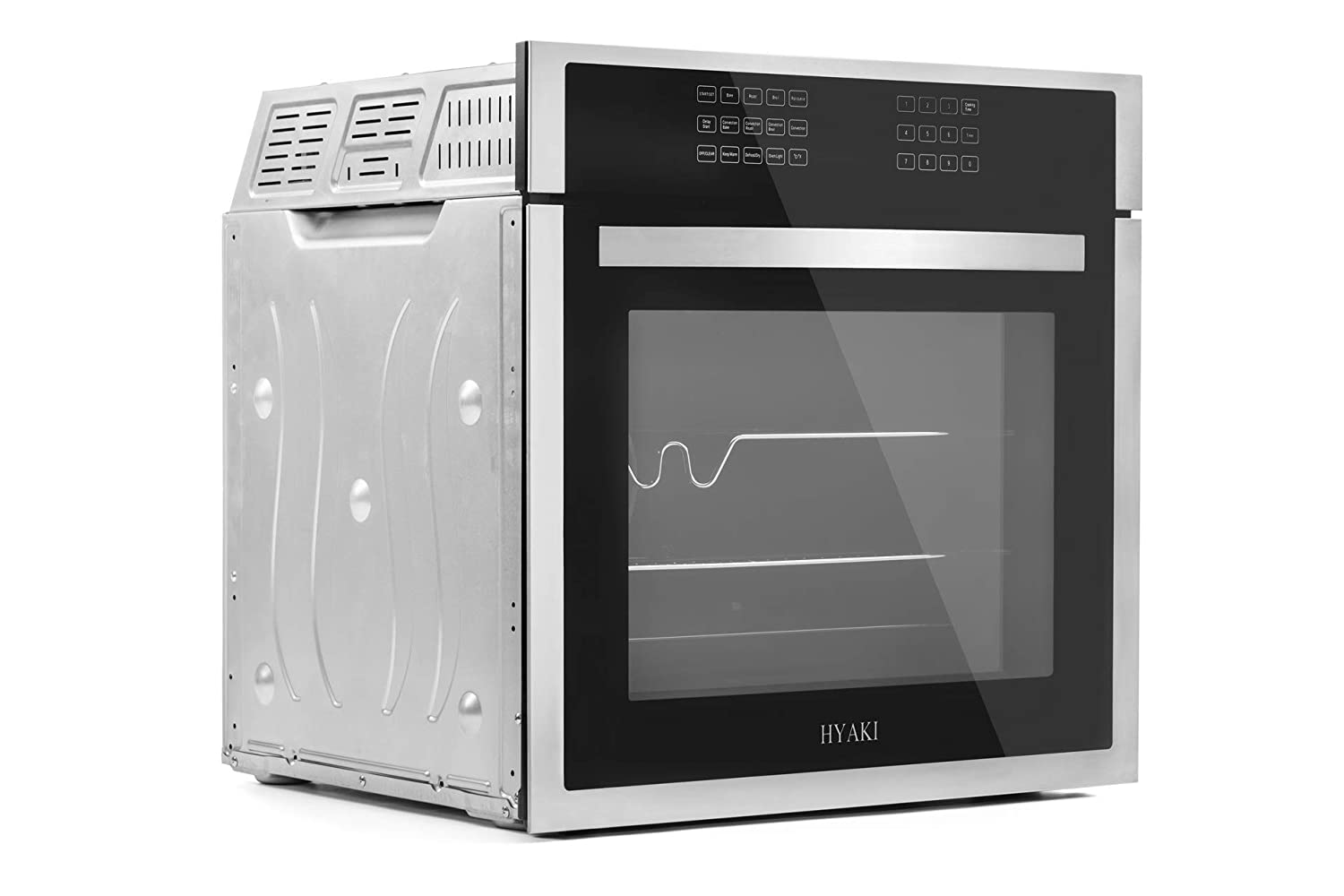 "HYAKI 24"" Tempered Glass Built-In Single Wall Oven with Digital LED Touch Controls, 12 Cooking Style and Rotisserie Function HYK-24WOX01-01"