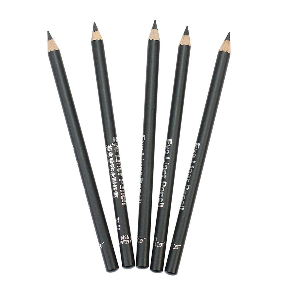 5x Delineador Lápices de Ojos Negro Impermeable Maquillaje Cosméticos 15.9cm Pinzhi