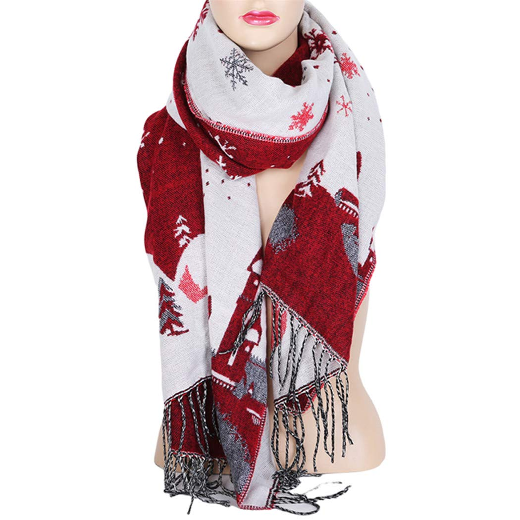Eleusine Christmas Scarf For Women Christmas Gift Snow Printing Stole Shawls Winter Scarves