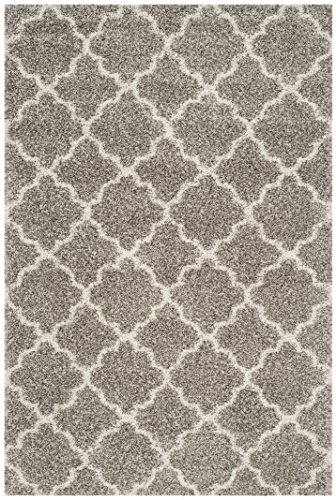 Safavieh Hudson Shag Collection SGH282B Grey and Ivory Moroccan Geometric Quatrefoil Area Rug (8' x 10') from Safavieh