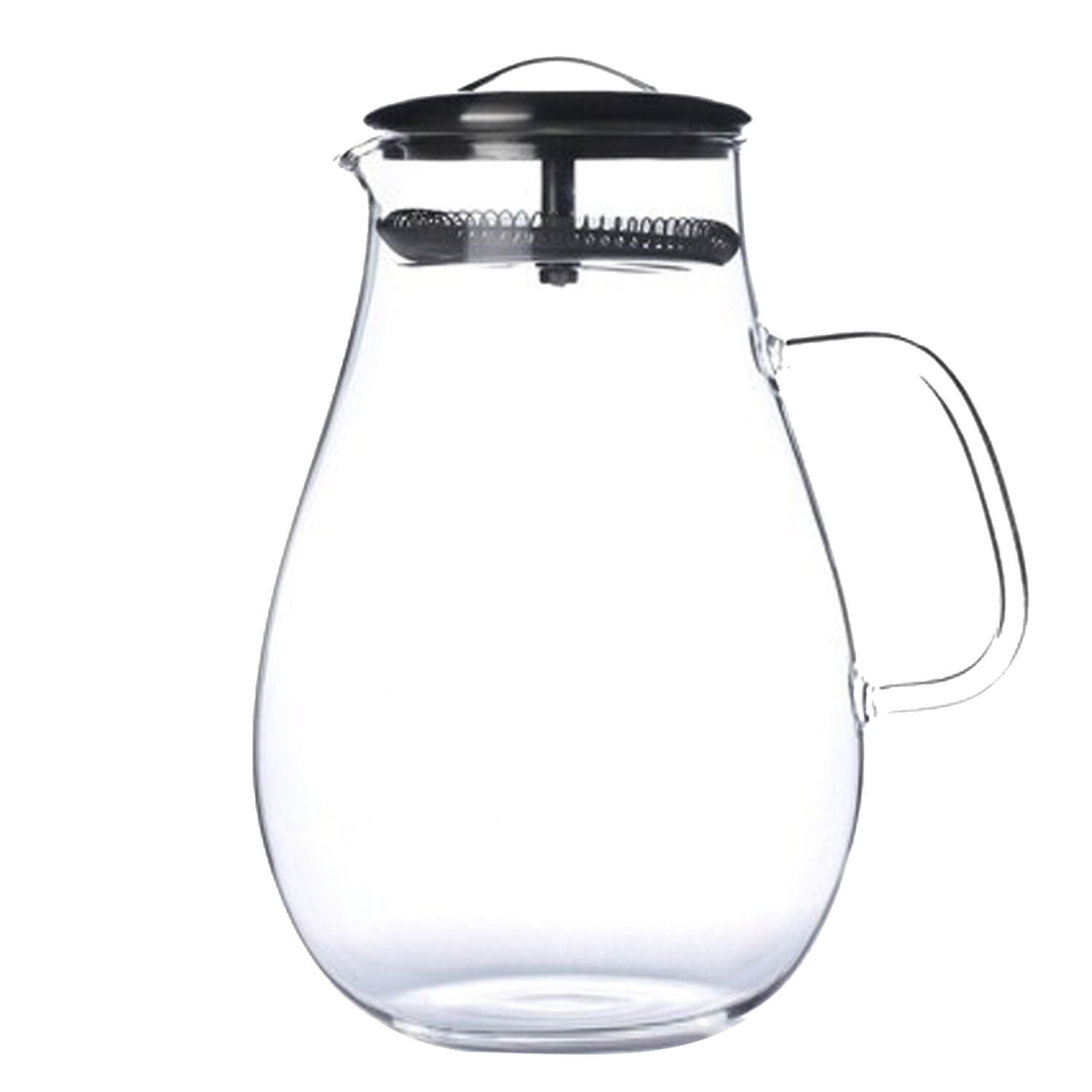 1900ml Large Capacity Glass Pitcher Drink Water Juice Tea Milk Beverage Jug Pitcher Bottle with Filter Stainless Steel Lid for Homemade Juice Iced Tea Gosear