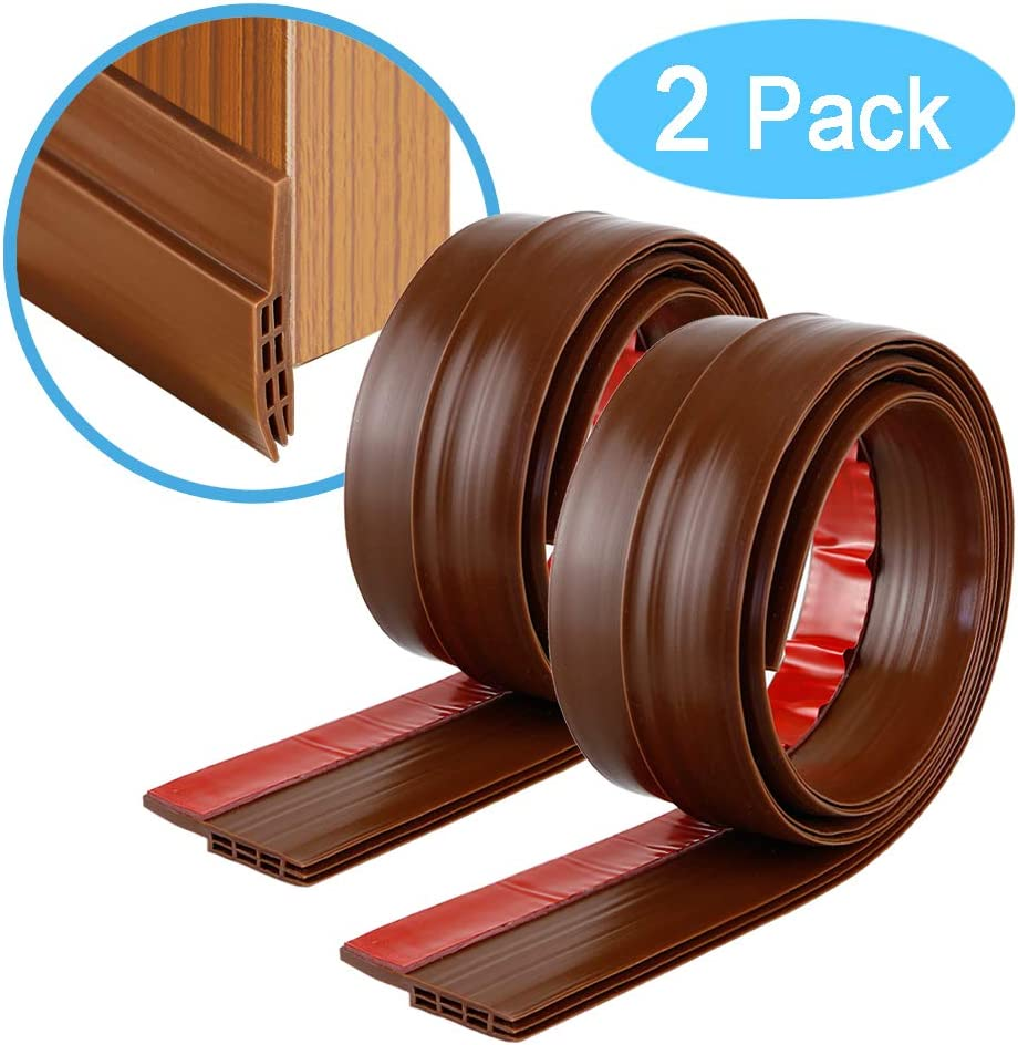 Draught Excluder YOUSHARES 2 Packs of Door Seal Brown Rubber Door Draft Sweep Stopper for Soundproof and Keep Warm Door Weather Stripping