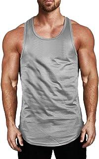Hibote Cotton Slim Fit Uomo Canotte Abbiglia Uomo Bodybuilding Canotta Fitness Top T-Shirt