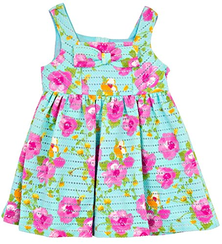 Rare Editions Baby Girls Blue Crochet Floral Bow Dress 12 ()