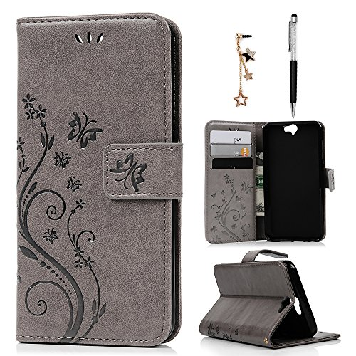 HTC One A9 Case Wallet, MOLLYCOOCLE PU Leather Wallet Embossed Florals Kickstand Magnetic Flip Case Card Holders & Hand Strap Case Cover for HTC One A9 -Gray