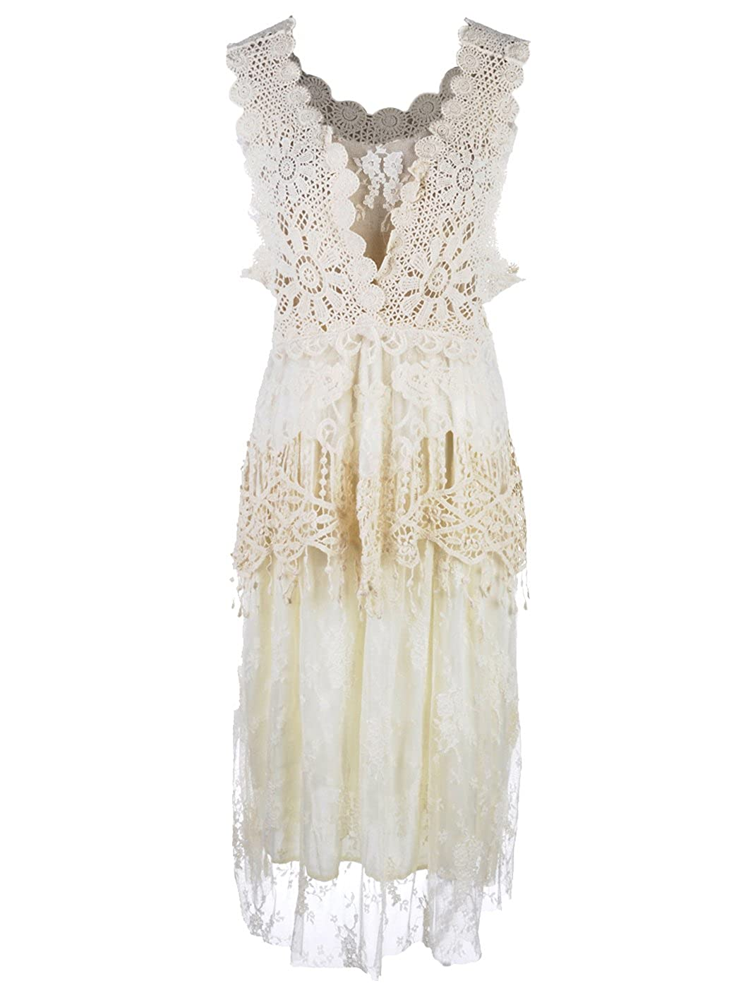 Roaring 20s Costumes- Flapper Costumes, Gangster Costumes Anna-Kaci Womens Vintage Granny Influence Embroidery Detail Lace Ruffle Dress $47.90 AT vintagedancer.com
