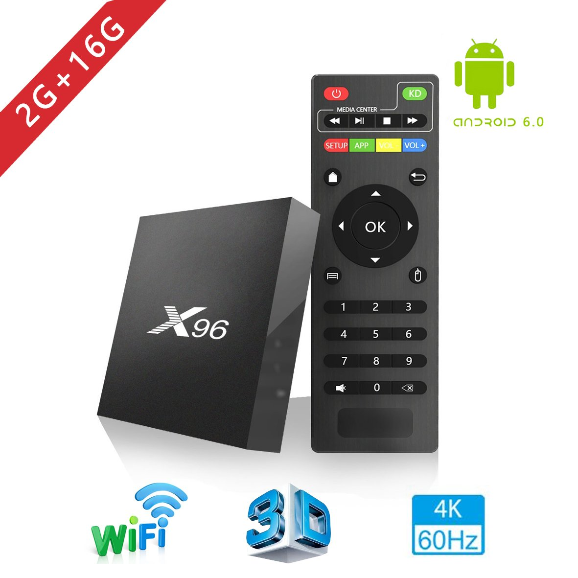 Aoxun 4K TV Box Android 6.0 WiFi 2G+16GB HDMI DLNA Smart TV Case H.265 WiFi 2.4Ghz X96 2017