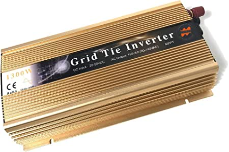 Marsrock 1300W Grid Tie Inverter Auto 20-50VDC(30v, 36v Solar) to 90~140VAC(110V AC) MPPT Pure Sine Wave Inverter for Max 1500W Solar or Wind Power Input (Golden) (Renewed)