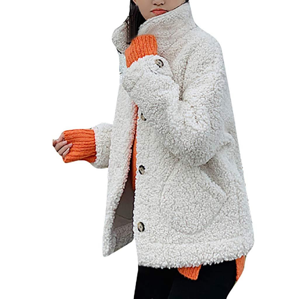 Wenini Women Outwear Plush Coat Long Sleeve Lamb Hair Stand Collar Warm Coat Plush Jacket Overcoat by Wenini