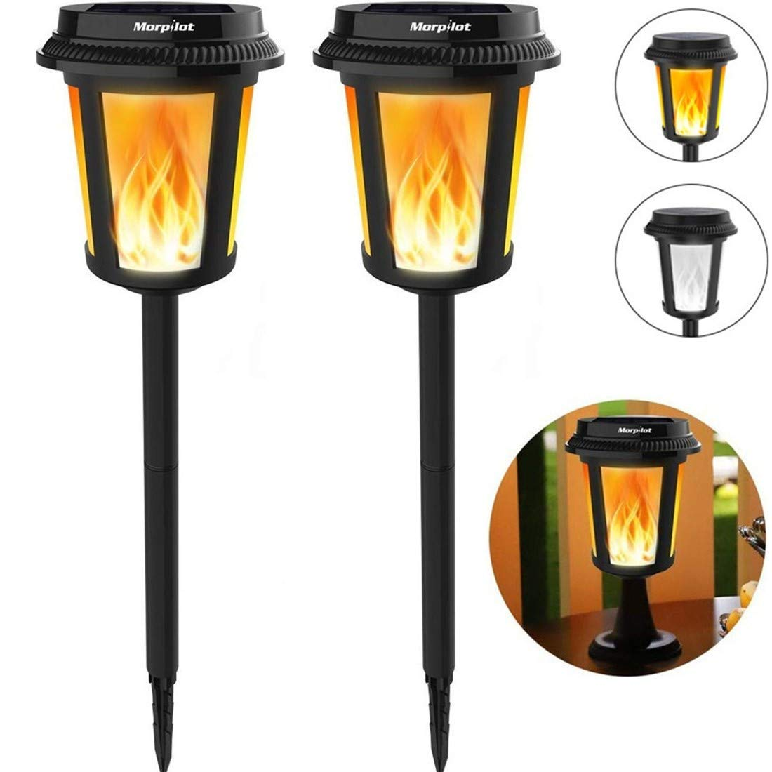 Keenstone 2 in 1 LED Solar Flame Lights/Solar Torches Lights/Flame Torches, White Light & Flame Light, 4 Lighting Effects/IP65 Waterproof/Lighting Dusk to Dawn Auto On/Off/Battery Life Up to 5 Years