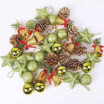 astra gourmet mini christmas ornaments set of 36 small tree decorations gold miniature bells - Miniature Christmas Decorations