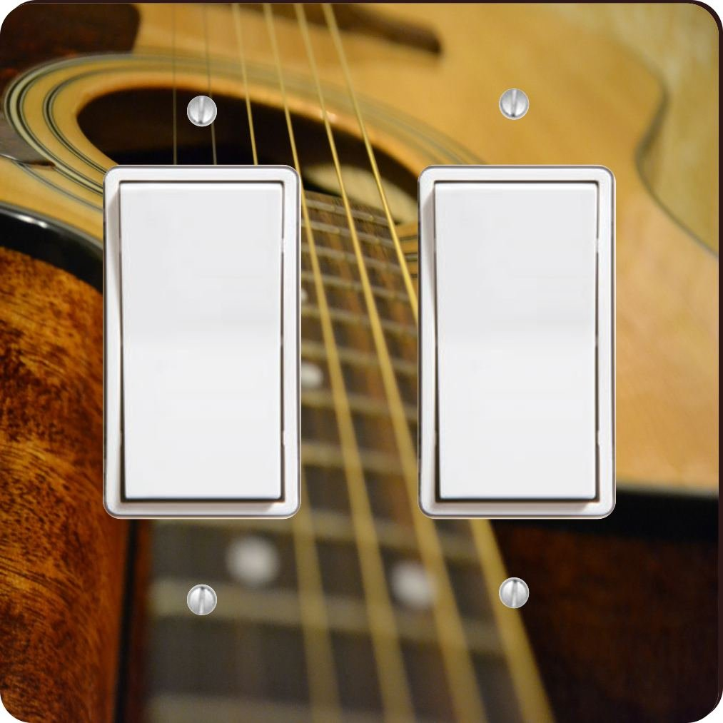 Acoustic Guitar Design Double Rocker Light Switch Plate