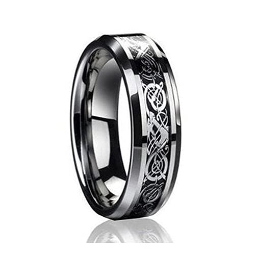 6mm Tungsten Carbide Celtic Knot Dragon Black Carbon Fiber Inlay Engagement  Wedding Band Ring for Men & Women