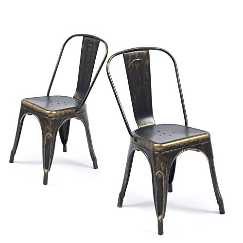 Superieur Belleze Set Of (4) Metal Chairs Side Dining Steel High Back Counter (Antique