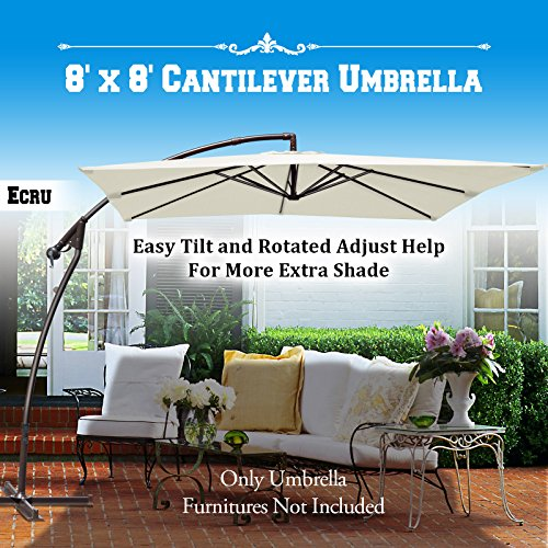 Cheap BenefitUSA 8'x8′ Cantilever Banana Umbrella Patio Offset Parasol Garden Outdoor Sunshade Hanging Market-360'C Rotational Function (Ecru)