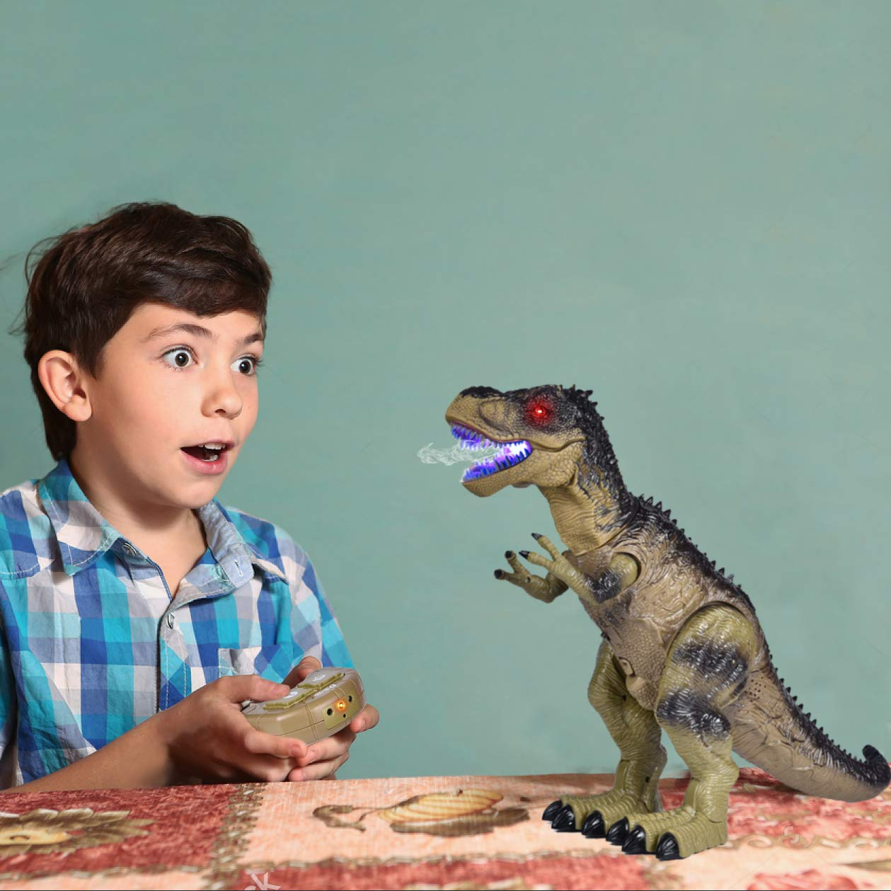 Remote Control Dinosaur for Kids, Electronic Walking & Spray Mist Large Dinosaur Toys with Glowing Eyes, Roaring Dinosaur Sound,18.5'' Realistic T-Rex Toy for Boys by FUN LITTLE TOYS (Image #2)