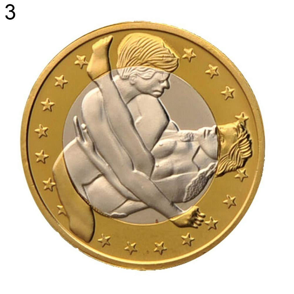Connoworld Novelty Round Gold Plated Sex Euros Coins Collectible Couple Gift Commemorative - 3#