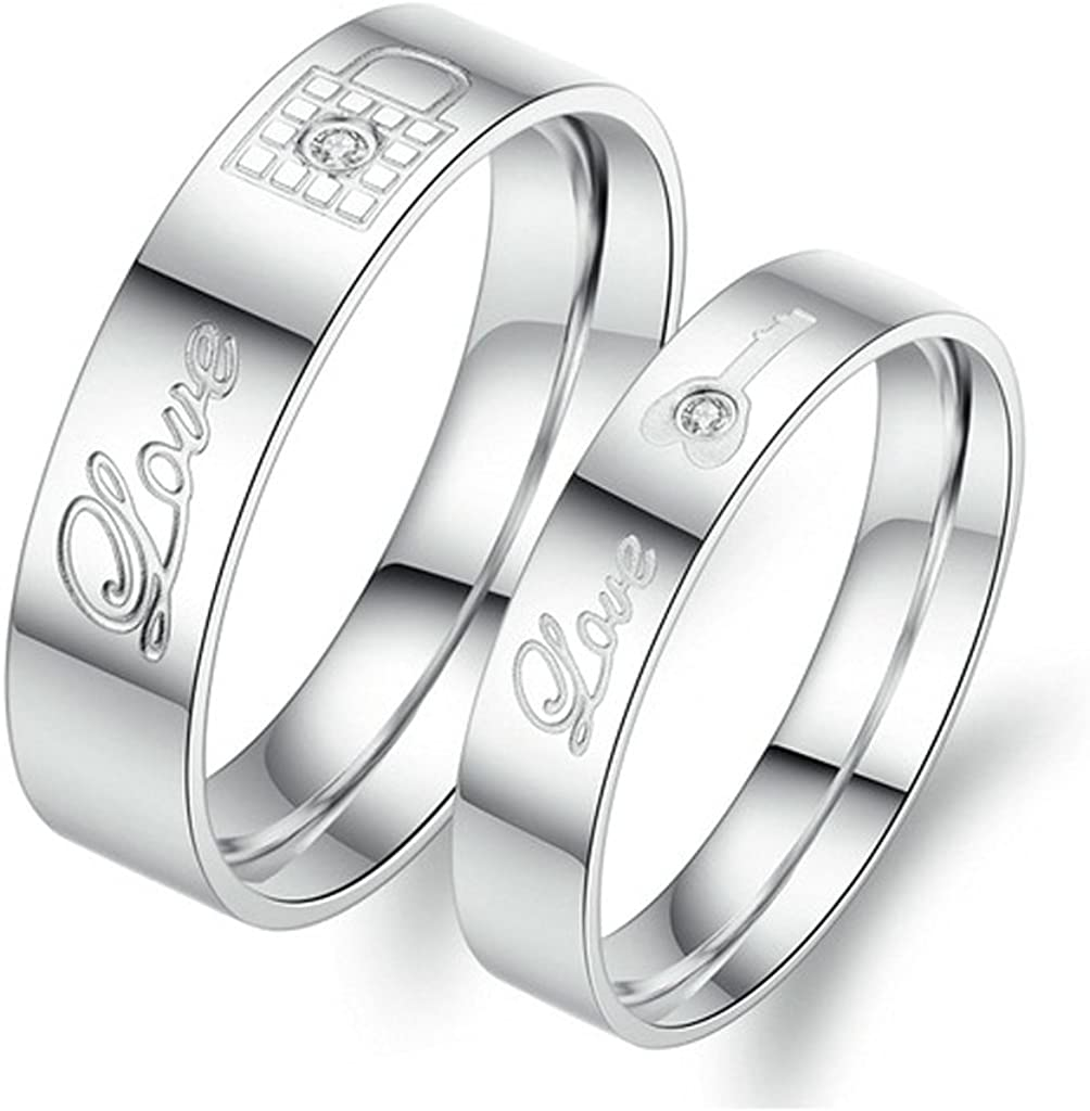 Bishilin 2Pcs Set Stainless Steel Silver Kay Lock Love Engraved Couple Wedding Ring Bands for His and Her Women Size 8 /& Men Size 11