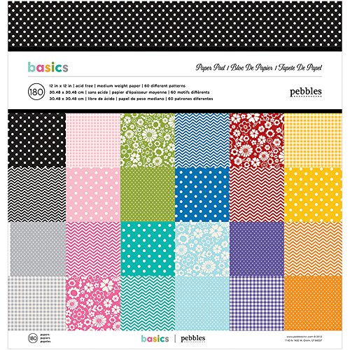 American Crafts Pebbles Paper Pad, 12 by 12-Inch, Best of Pebbles, 180/Pack