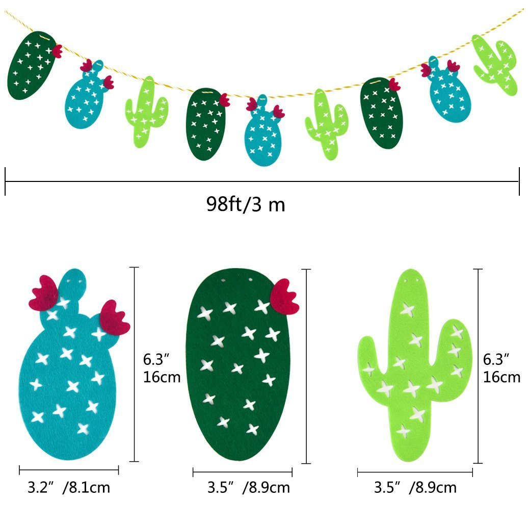 48 Pieces Cactus Cupcake Toppers Cupcake Picks and 1 Pack Cactus Banner for Fiesta West Cacti Theme Birthday Party Supplies Baby shower Decoration by Living Show (Image #4)