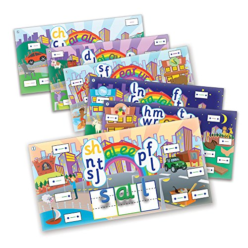 Junior Learning Rainbow Phonics Word City 6 Vibrant Magnetic Learning Landscape Boards
