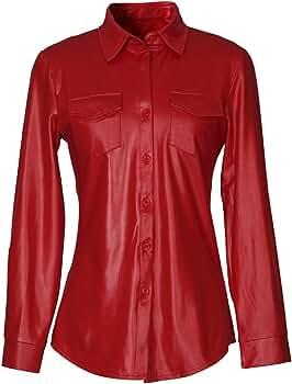 Mxssi PU Blusas PU Camisa de Cuero Negro Mujeres de Manga Larga de imitación de Cuero Tops Casual Blusas de Oficina Damas Rojo XL: Amazon.es: Ropa y accesorios