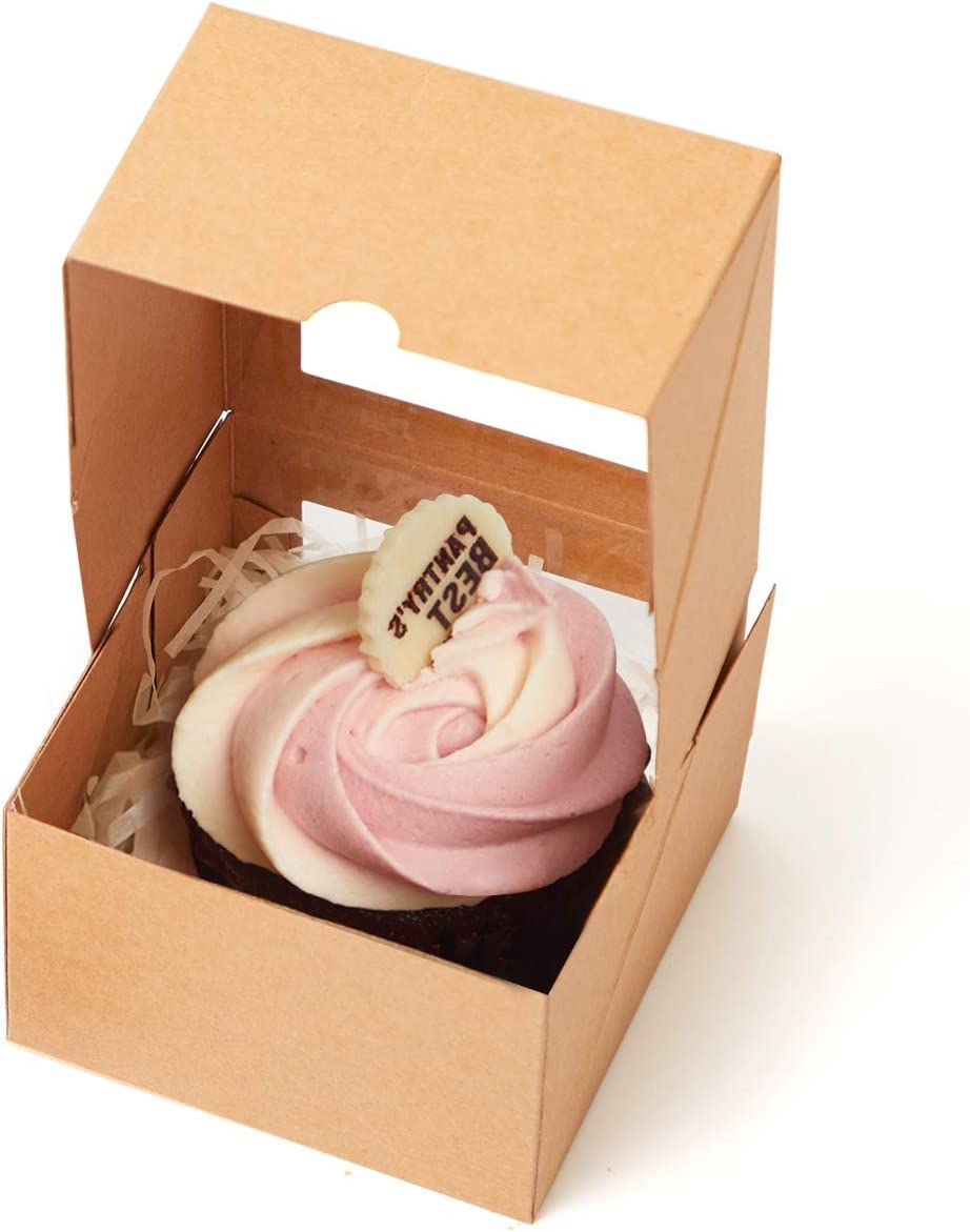 Yotruth Gold Mini Cupcake Boxes Single Easy Assembly with Insert 50 Pack MNOne50GD