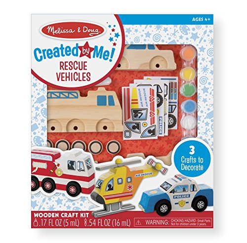 Police Fire Truck - Melissa & Doug Decorate-Your-Own Wooden Rescue Vehicles Craft Kit - Police Car, Fire Truck, Helicopter