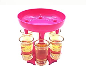 6 Shot Glass Dispenser and Holder (including 6 Pcs 1.2oz Acrylic Cup),Shots Dispenser, Beverage Dispensers,Bar Shot Dispenser, Cocktail Dispenser, Dispenser With Slogan(Pink)