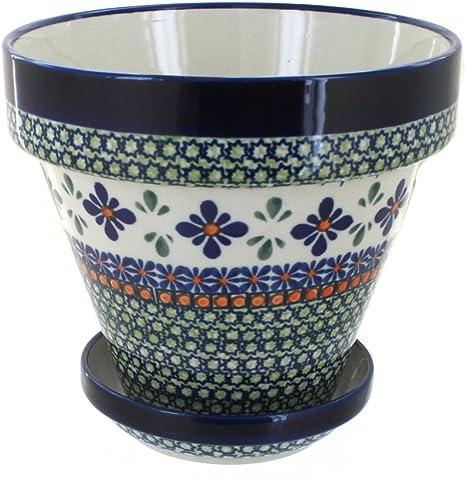 Blue Rose Polish Pottery Mosaic Flower Medium Flower Pot Planters Kitchen Dining