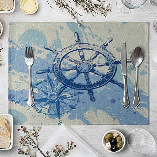 memorytime Fish Rudder Compass Heat Insulated Pad Kitchen Dining Table Mat Placemat Decor Kitchen Dining Supplies - 4# by memorytime (Image #5)