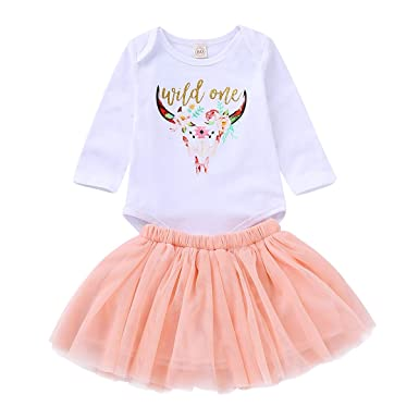 168215fd8e5 MLCHNCO Baby Outfit Set for Newborn Baby Girl Long Sleeve Floral Romper  Tops + Tutu Skirts