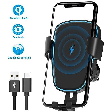 Quntis Qi Cargador Inalámbrico Coche Automático Maneja con Sólo una Mano Soporte móvil para Coche Inteligente Carga Rápida 7.5W para iPhone XS/XR/XS ...