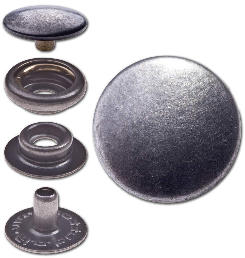 """Finish Ringfeder-Druckknöpfe /""""F3/"""" 14mm aus Messing nickel-antik nickelfrei"""