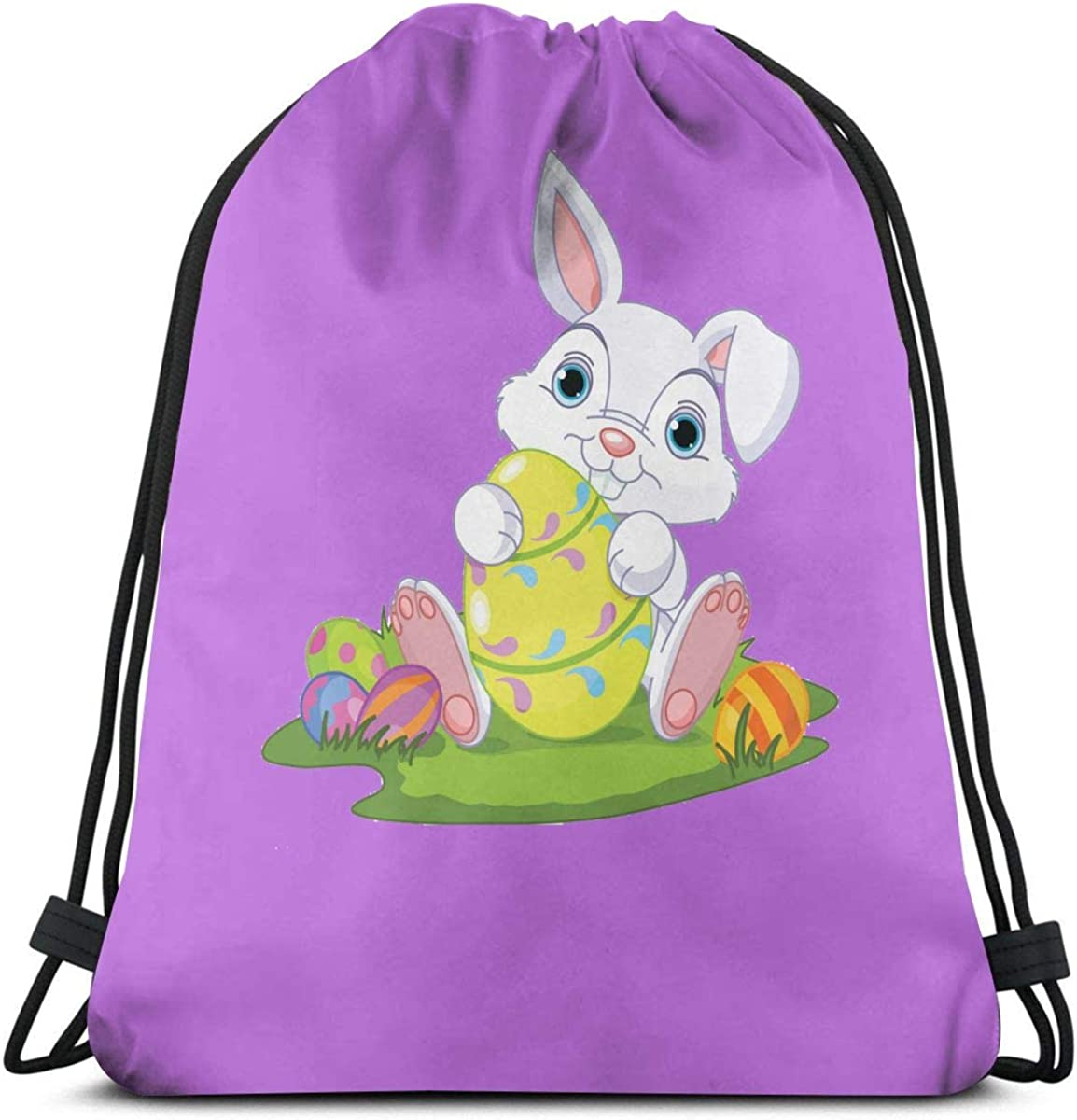 Easter Cute Rabbit Personalized Mens And Womens Sports Fitness Bag Drawstring Backpack Fashion Dance Bag Hiking Bag Light Weight
