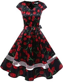 8cce62e97884a Gardenwed Women's 1950s Rockabilly Cocktail Party Dress Retro Vintage Swing  Dress Cap-Sleeve V Neck