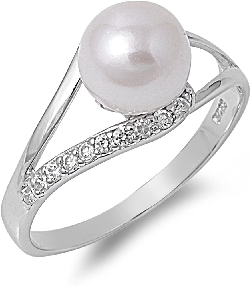 Triple Simulated Pearl Unique Ring New .925 Sterling Silver Band Sizes 4-10