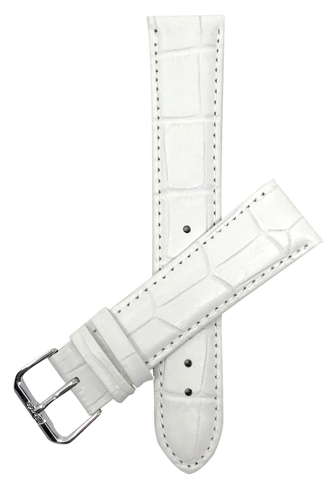 Extra Long (XL) 14mm White Womens' Alligator Style Genuine Leather Watch Strap Band