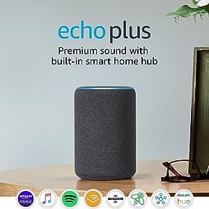 Certified RefurbishedEcho Plus (2nd Gen) - Premium sound with built-in smart home hub - Dark Charcoal