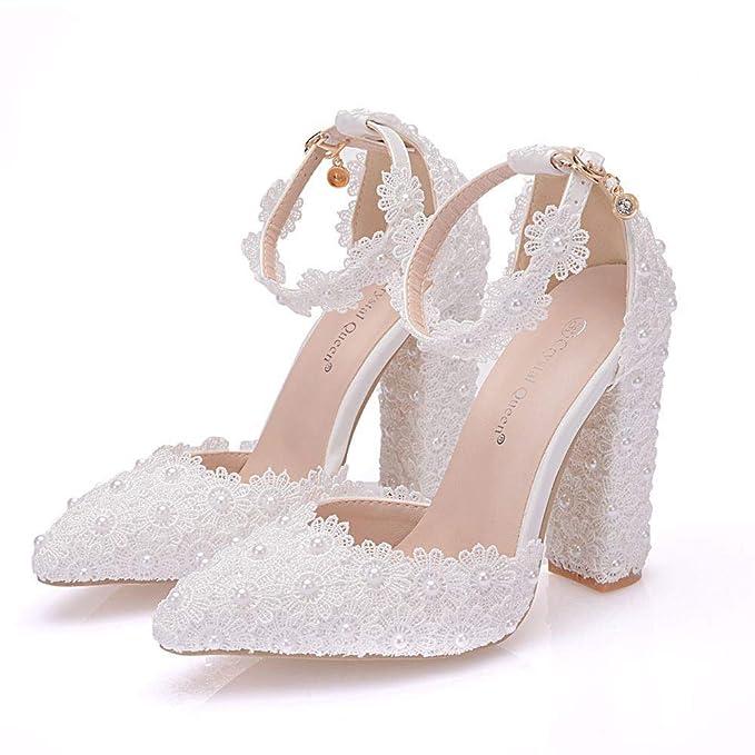 Marche Scarpe Sposa Comode.Signore White Lace Scarpe Da Sposa Scarpe A Punta Shallow Moda