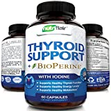 Thyroid Support Complex with Iodine + BioPerine Black Pepper – Vegetarian Capsules Natural Supplement - Energy & Focus Formula, Boosts Brain Function & Metabolism, Concentration, with B12, Ashwagandha