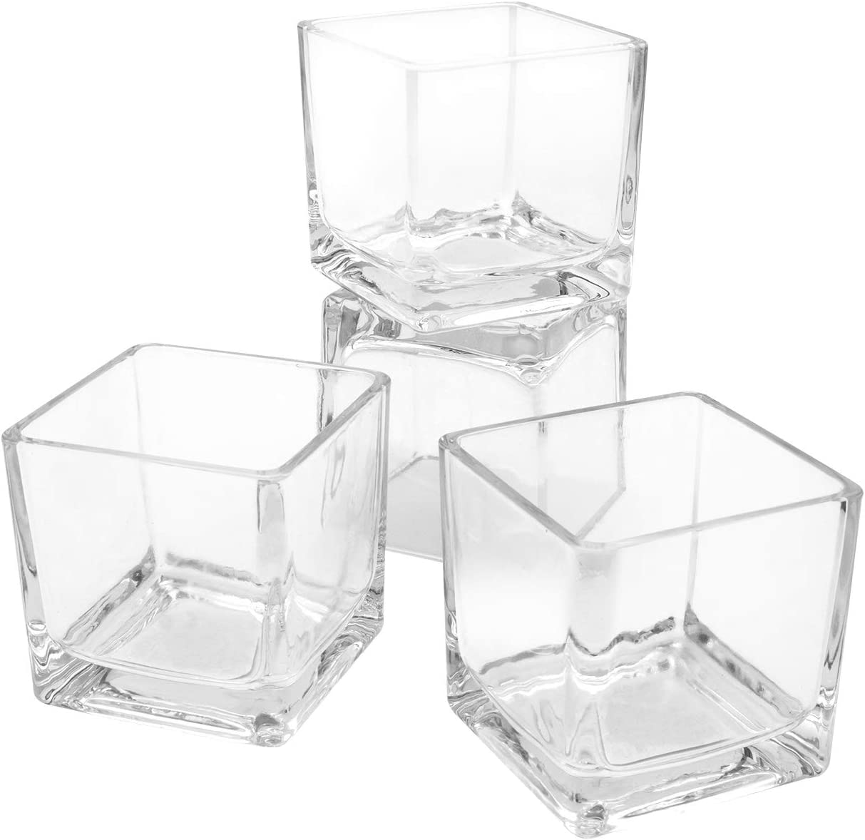 Flower Glass Vase Decorative Centerpiece for Home or Wedding by Royal Imports - Clear Cube Shape, 2.5