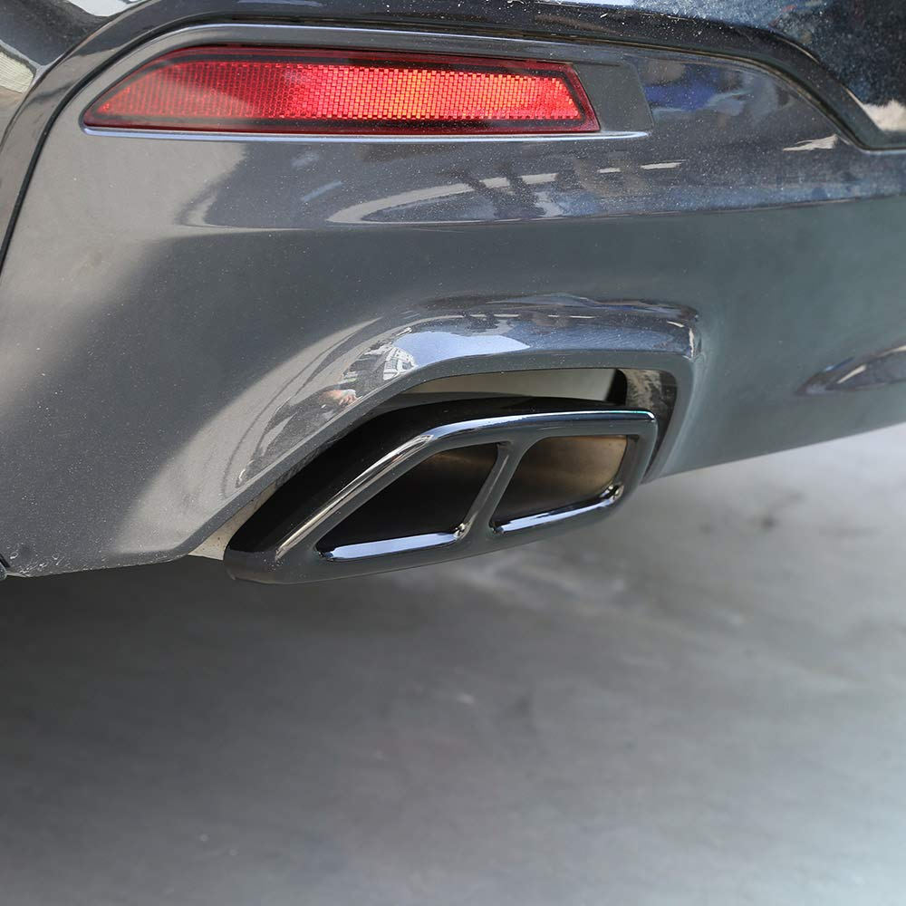 304 Stainless Steel Glossy Black For New 5 Series G30 528li 530li 2017 2018 Car Exhaust Tailpipe Cover Trim Car Accessories