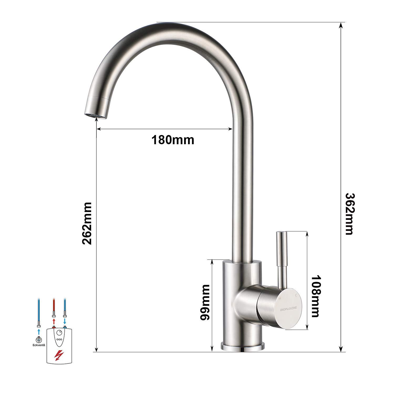 BONADE Niederdruckarmatur Wasserhahn 20° Drehbare Küchenarmatur
